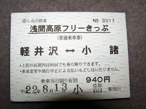 浅間高原フリーきっぷ